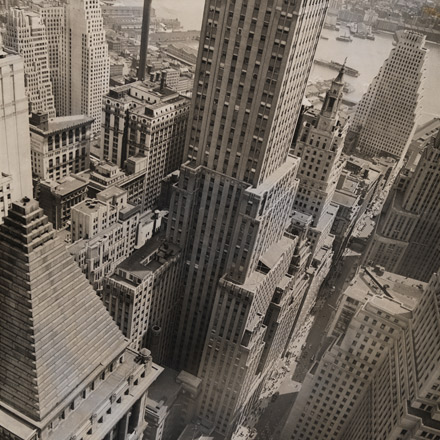 Berenice Abbott photograph of Wall Street Showing East River, May 4, 1938