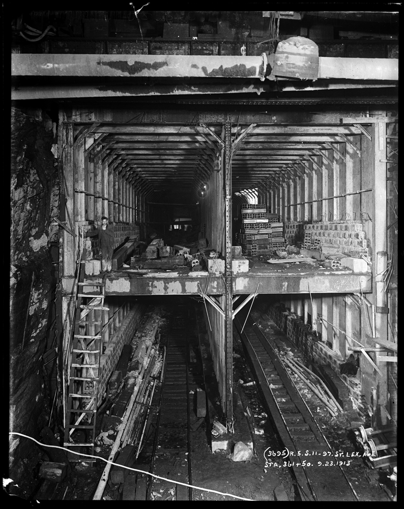 Pierre P. Pullis | G. W. Pullis. Subway tunnel construction at Lexington Avenue and 97th Street. 1913. Museum of the City of New York. 2000.52.51.