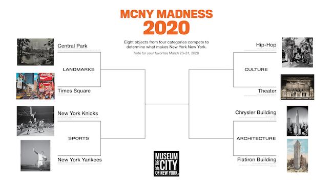 2020 년 XNUMX 월 MCNY Madness Challenge의 XNUMX 가지 경쟁자를 보여주는 브래킷 다이어그램