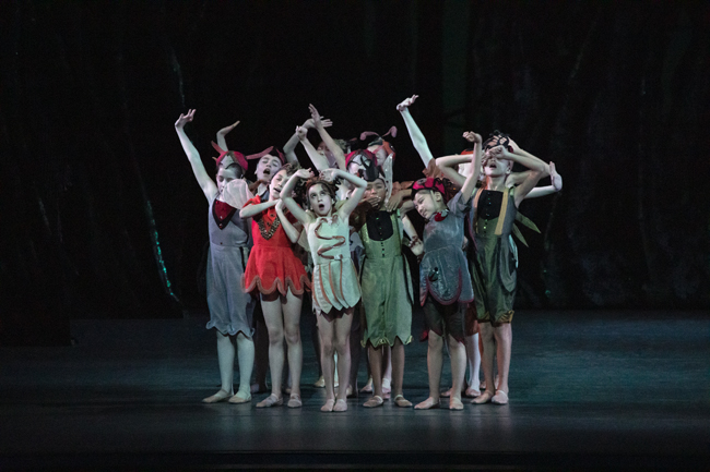 A group of children in costume during a performance of George Balanchine's A Midsummer Night's Dream