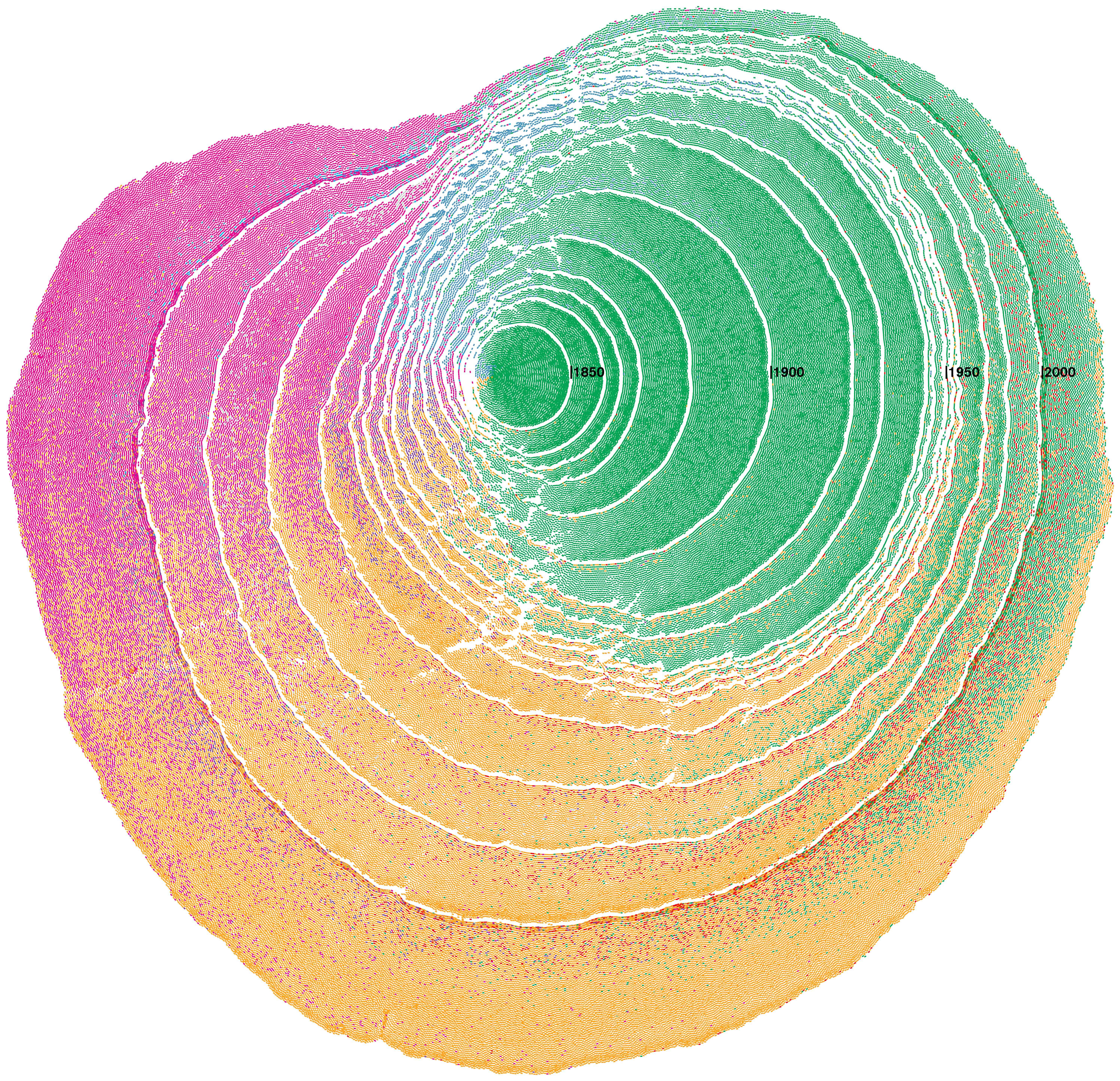 Os padrões de imigração para os Estados Unidos são visualizados como anéis de árvores.