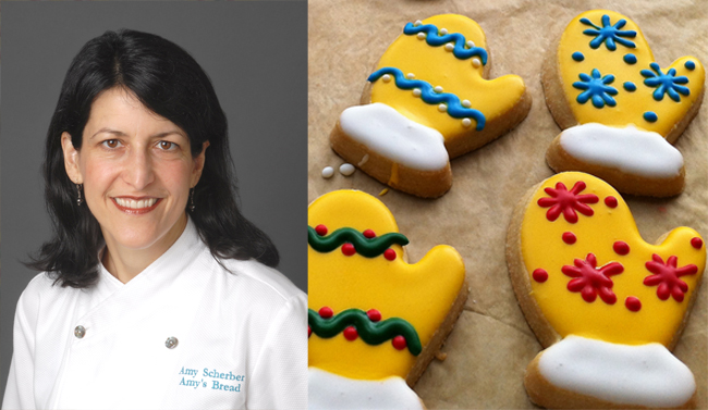On the left is a headshot of Amy Scherber. On the right are cookies shaped like mittens decorated with yellow, red, green and white icing.