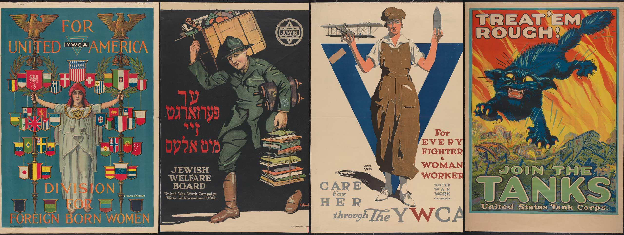 Four WWI posters that encourage different groups to participate in the war effort through working, enlistment, and more