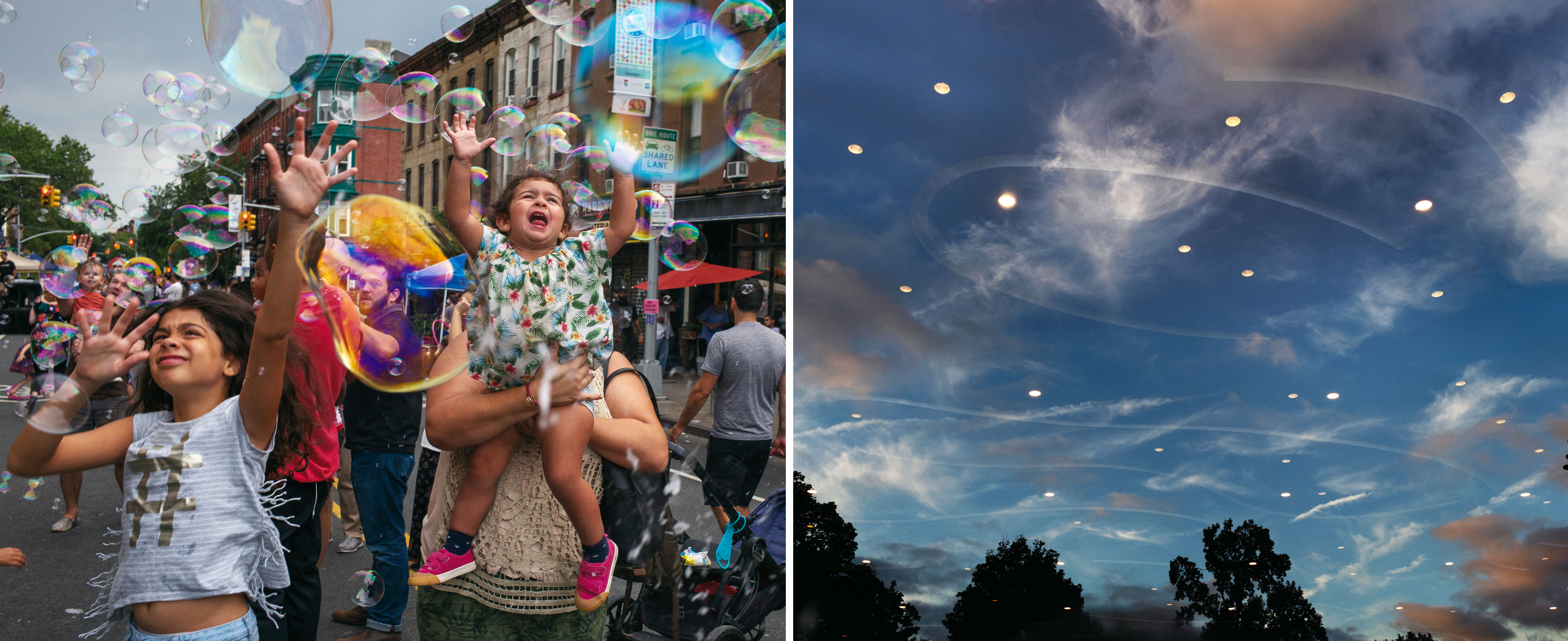 On left, members of the Park Slope community on the street playing with bubbles. On right, the night sky in Prospect Park with reflections of the lights from below.
