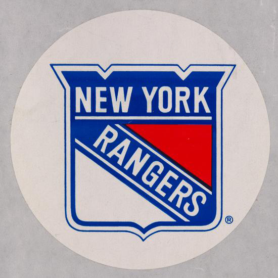 Logo for the New York Rangers on a circular white sticker.