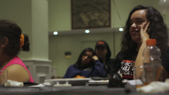 Angy Rivera, right, of the New York State Youth Leadership Council, at an open-mic night for undocumented and other immigrant youth,