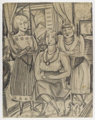 Louis (George Louis Robert) Bouché (American, 1896-1969). The Three Sisters, 1918. Graphite on cream, moderately thick, moderately textured laid paper, sheet: 24 3/16 x 18 7/8 in. (61.4 x 47.9 cm). Brooklyn Museum, Gift of Ettie Stettheimer, 45.121.