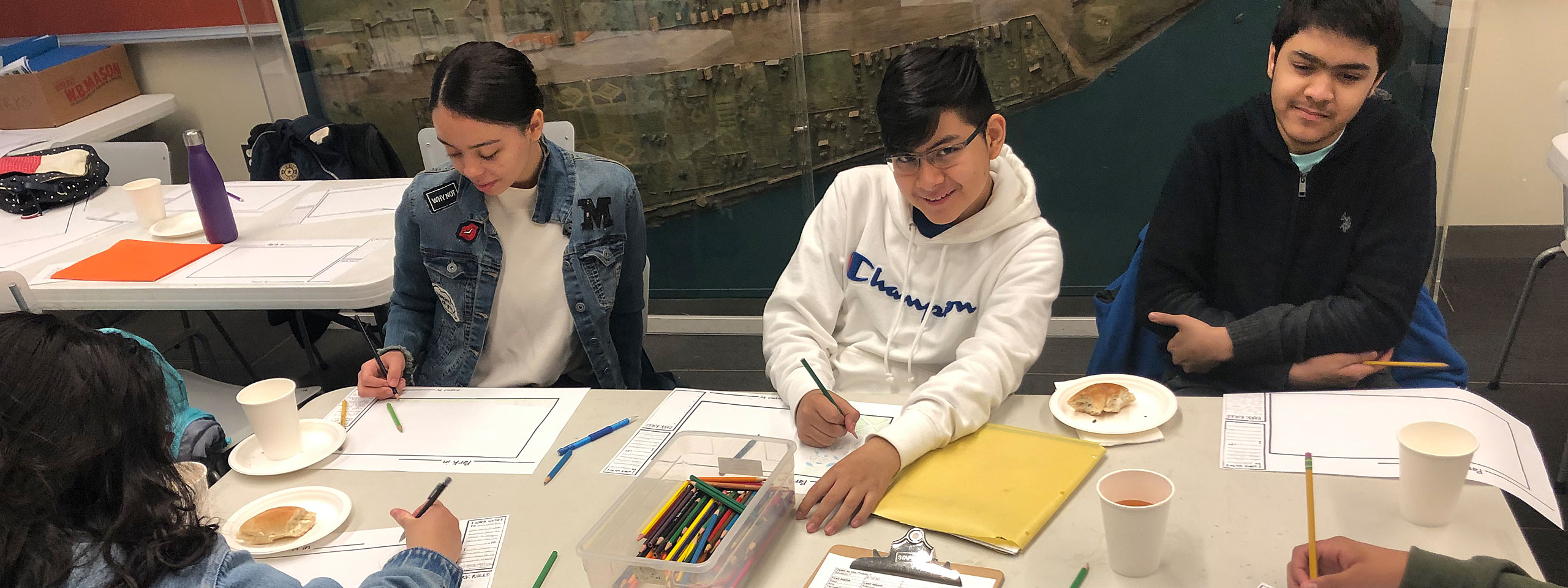 Photograph of Saturday Academy students designing parks in Museum classroom.