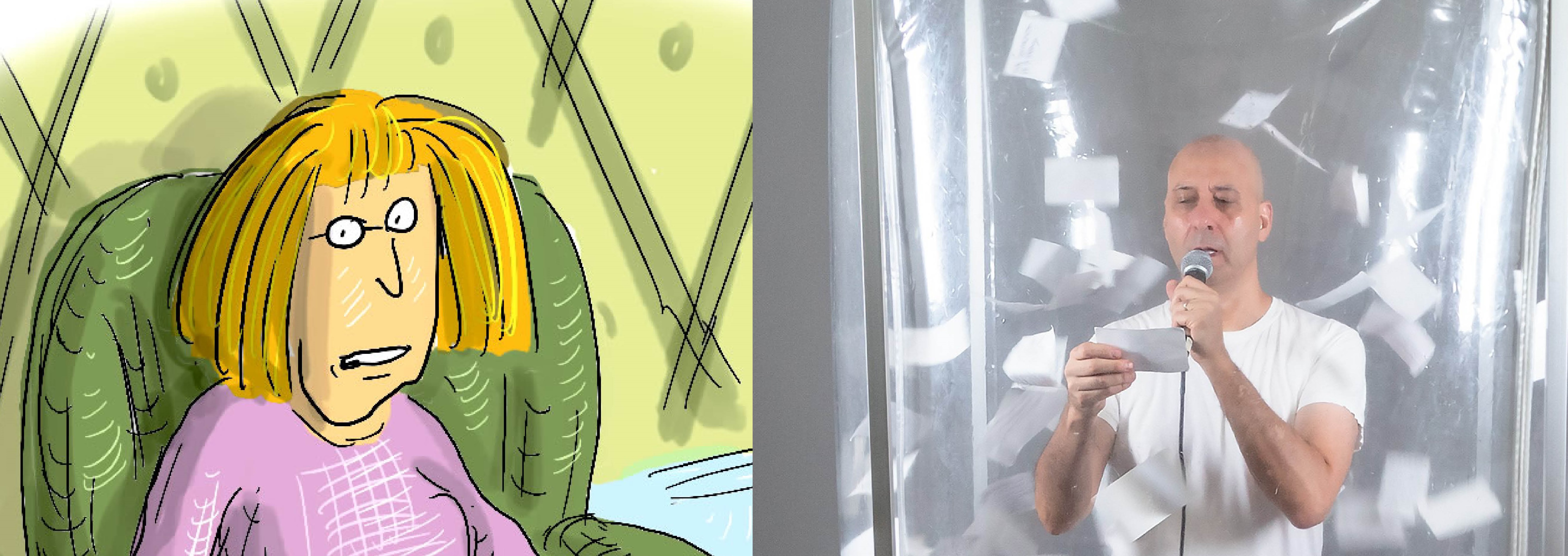 Roz Chast cartoon, self portrait in a chair, Neil Goldberg