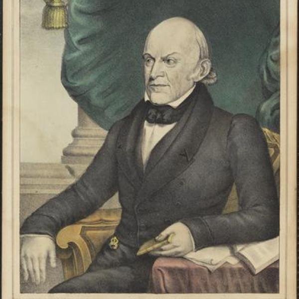 Uma fotografia do museu por N. Currier de John Quincy Adams em 1837.
