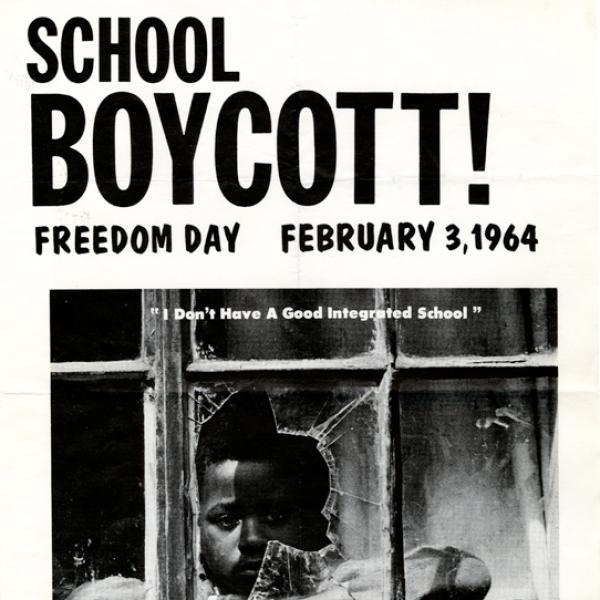 Um pôster do boicote à escola em 3 de fevereiro de 1964.