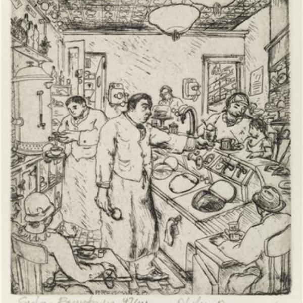 : Black and white print of employees and customers at a soda fountain.