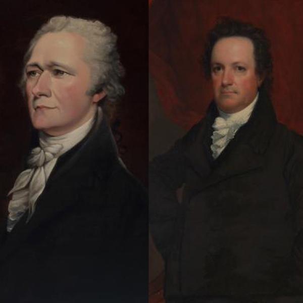 Uma foto de DeWitt Clinton e Alexander Hamilton (1799-1808).