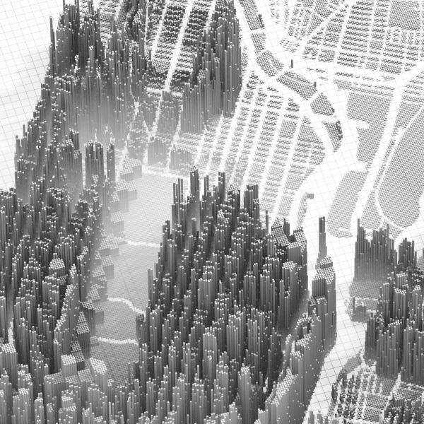 Map of upper Manhattan where the height of the extruded cubes corresponds to median household income, with higher sections of the matrix representing higher incomes and lower areas representing lower incomes.