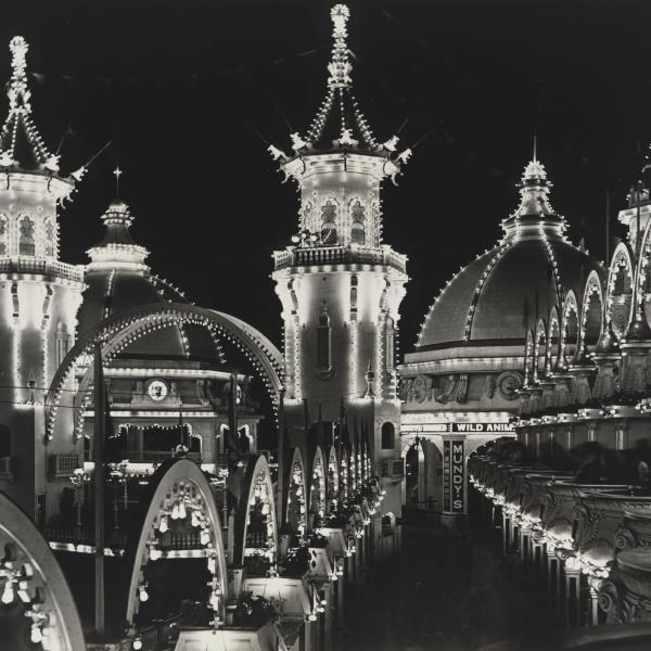 밤에 루나 파크의 전망은 많은 조명으로 불을 붙였습니다.