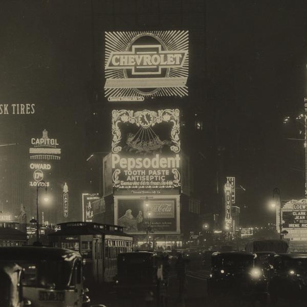 Samuel H. Gottscho의 밤 뉴욕시 흑백 사진