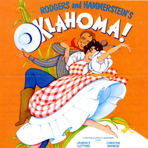 Uma foto do museu de um folheto de 1979 a 1980 para Oklahoma! performance teatral.
