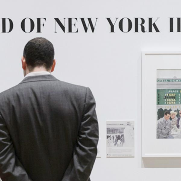 """Visitors in front of a wall with """"THE WORLD OF NEW YORK ILLUSTRATION"""" on it. Below text is a drawing of people at a racetrack"""