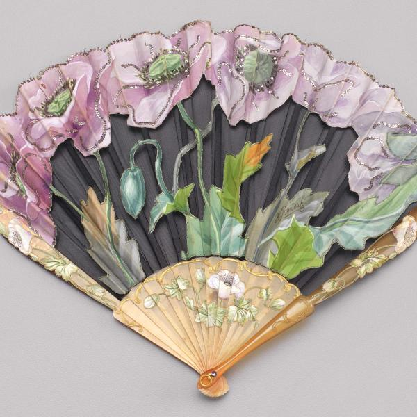 Folding fan of painted silk and net cutwork leaf, ca. 1900