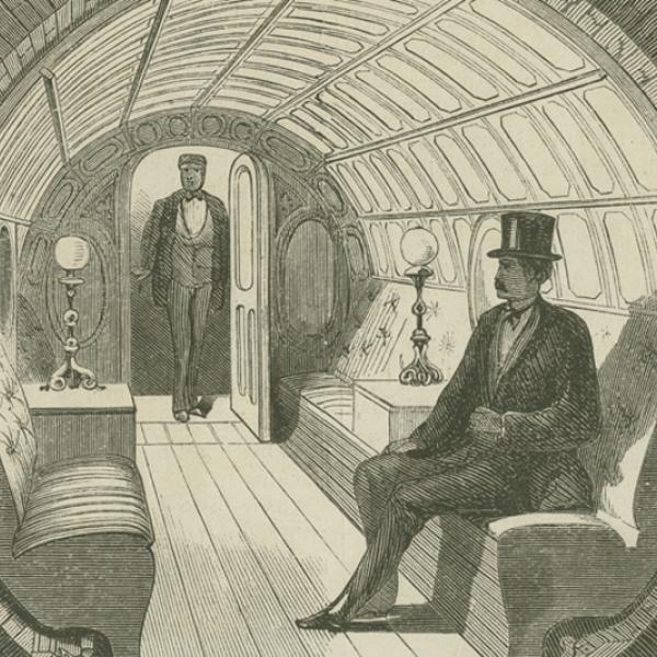 """""""Under Broadway – Interior of Passenger-Car,"""" illustration from The Broadway Pneumatic Underground Railway, 1871, in the Ephemera Collection. Museum of the City of New York. 42.314.142"""