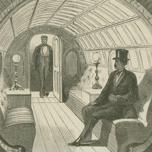 """""""Under Broadway - Interior de carro de passageiro"""", ilustração da Broadway Pneumatic Underground Railway, 1871, na Ephemera Collection. Museu da cidade de Nova York. 42.314.142"""