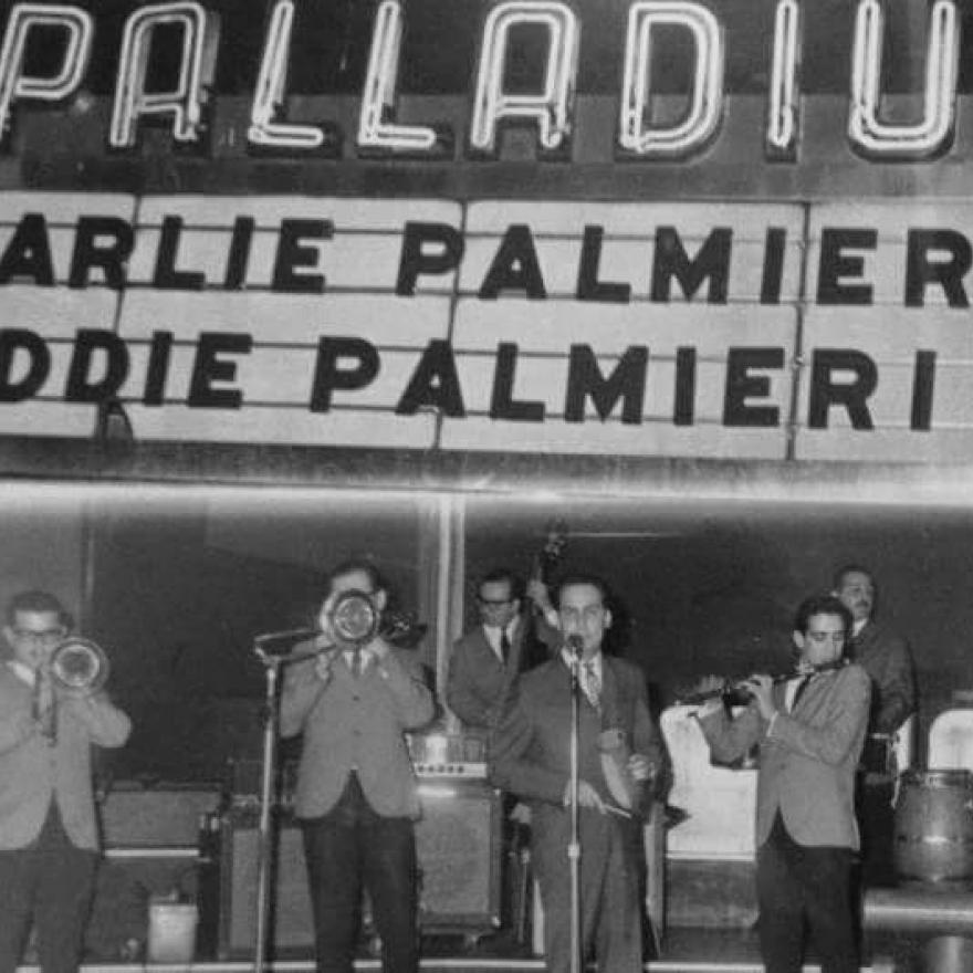 Charlie Palmieri and Eddie Palmieri perform at the Palladium Ballroom, c. 1964