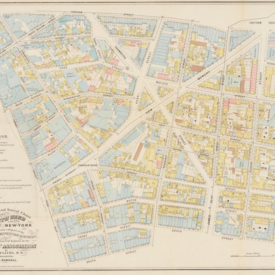 曼哈顿下城地图,基于卫生检查的颜色标记