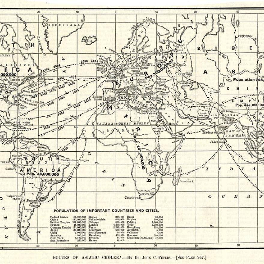 世界黑白地图,路径显示了在不同国家之间旅行的路线