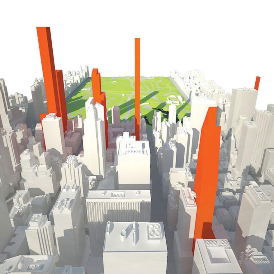 Una imagen generada por computadora de Nueva York mirando hacia el norte hacia Central Park. Algunos edificios son de color rojo, el resto son blancos.