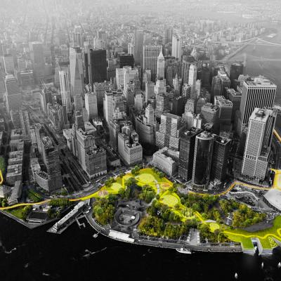 Aerial view of lower Manhattan. Green spaces are colored green and yellow, while the rest of the image is black and white