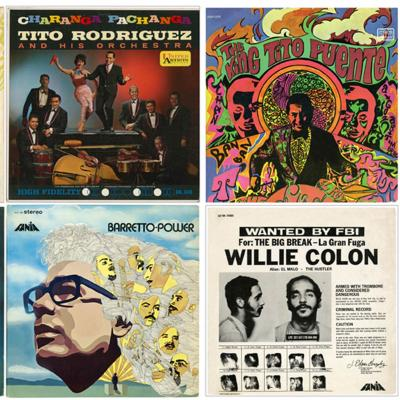 The covers of eight popular salsa music albums arranged in a grid