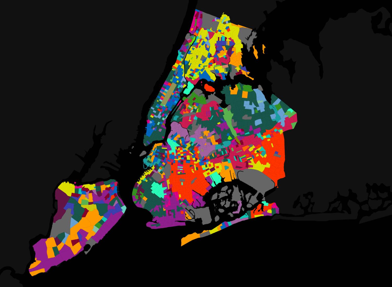 Mapa que descreve os idiomas falados em Nova York. Clique para ir para a página interativa.