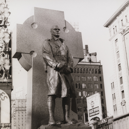 Carl Van Vechten (1880-1964). Statue of Father Duffy, Times Square, May 15, 1937. Museum of the City of New York. X2010.8.566 Image used with permission from the Van Vechten Trust