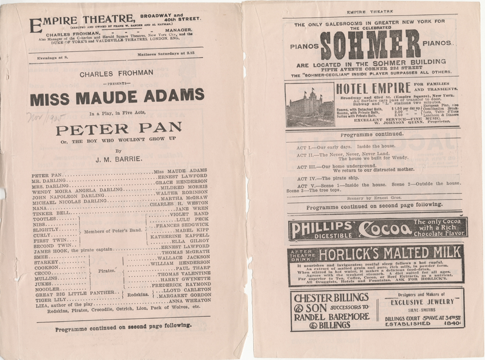 "Theater program for ""Peter Pan"" at the Empire Theatre, November 1905. Museum of the City of New York. X2012.42.2"